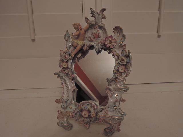 Antique German Signed Sitzendorf Cherub Angel Porcelain Dresser Mirror