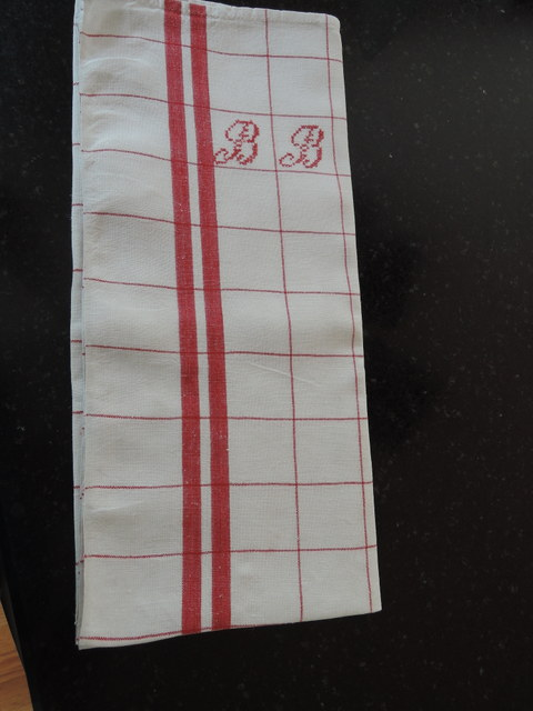 Vintage French Red & White Striped Monogram B B Kitchen Dish Towel Linen
