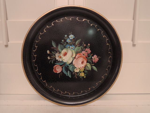 Vintage French Black Hand Painted Tole Tray Toleware Roses