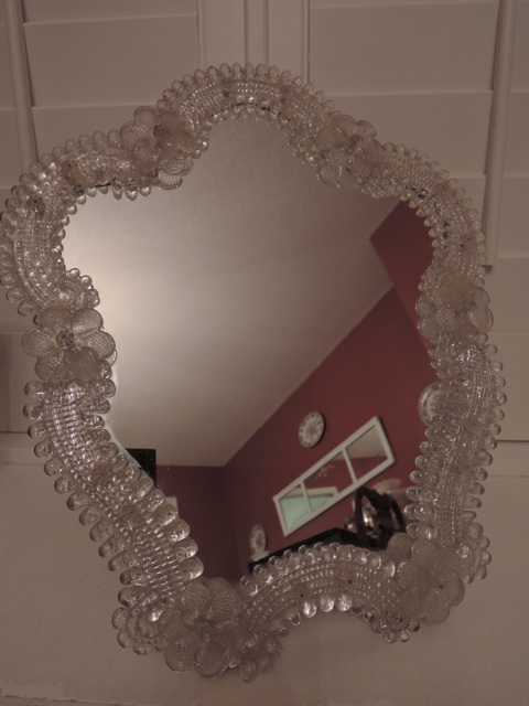 "Large Vintage Venetian Murano Glass Ladies Dressing Mirror 16"" Tall"