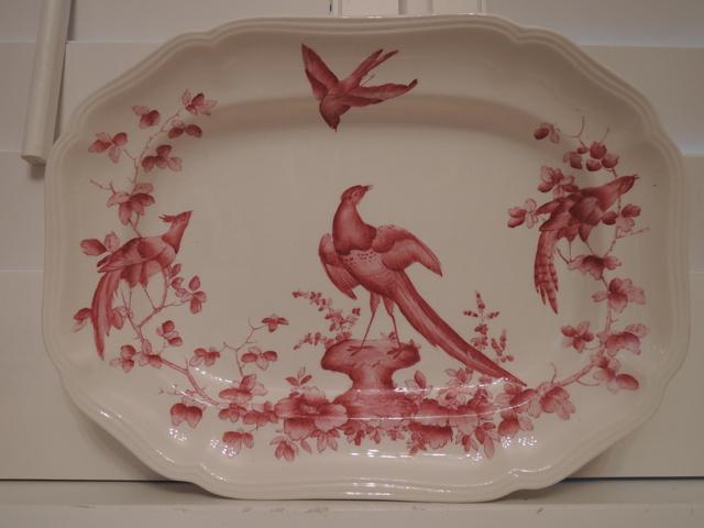 Vintage Copeland Spode Chelsea Bird Pink/Red Transferware Platter