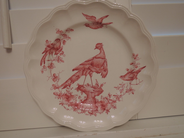Vintage Copeland Spode Chelsea Bird Pink/Red Transferware Dinner Plate
