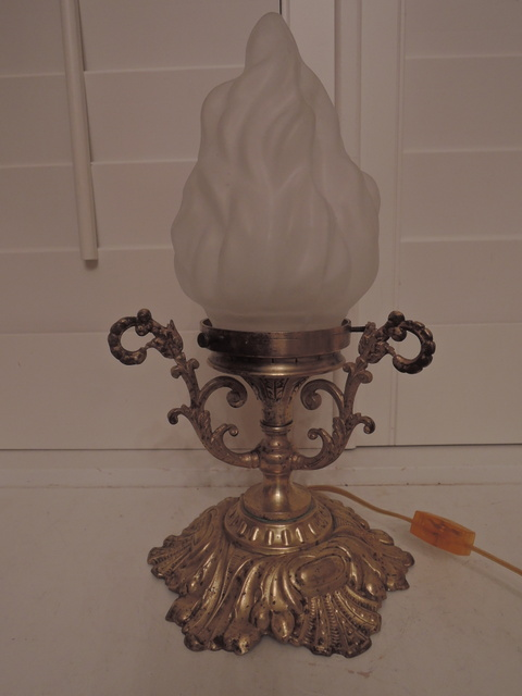 Antique French Elegant Brass Table Lamp w/Frosted Glass Torch Flame Shade