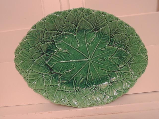Antique Green Leaf Majolica Platter Dish Server 1880's