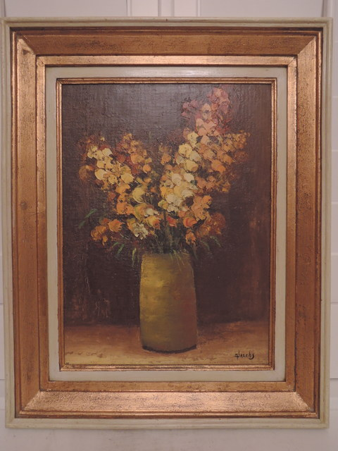 M Jacobs Belgian Artist Oil on Board Flower Painting Floral Still Life Signed