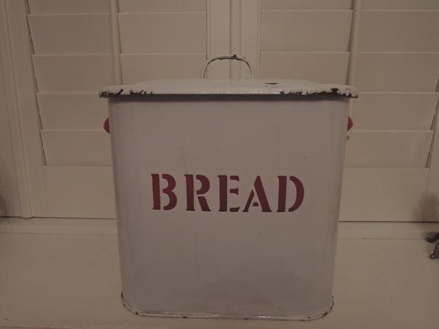 Antique English Enamel White & Red Bread Box Enamelware Bin 1930's