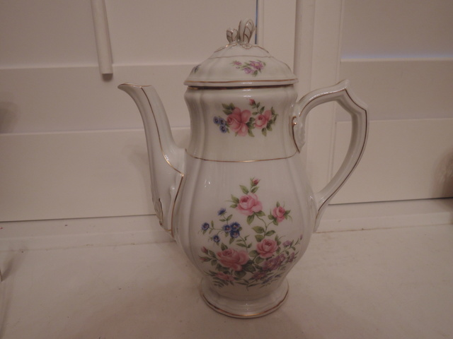 Vintage French Limoges Ch. Field Haviland Teapot Coffee Pot Pink Roses
