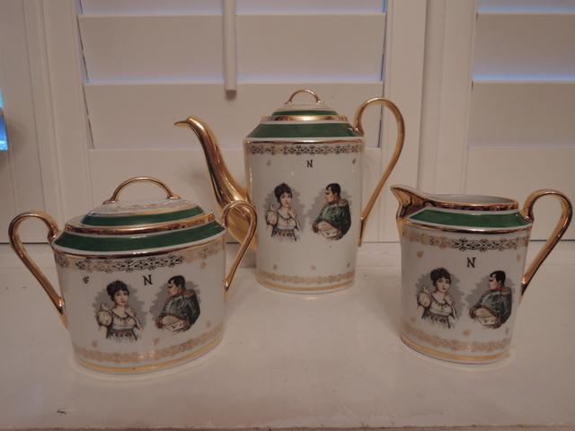 Vintage Porcelaine De Luxe France Napoleon & Josephine Gilded Teaset Teapot