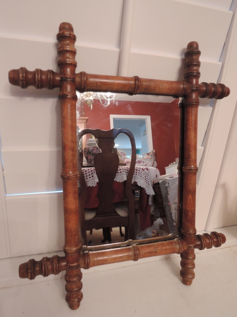 Antique Vintage French Faux Bamboo Wooden Wall Mirror 1920's