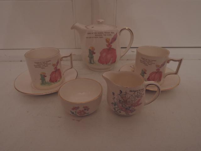 Darling Vintage James Kent Fairyland Fairies Child's Tea Set Teapot