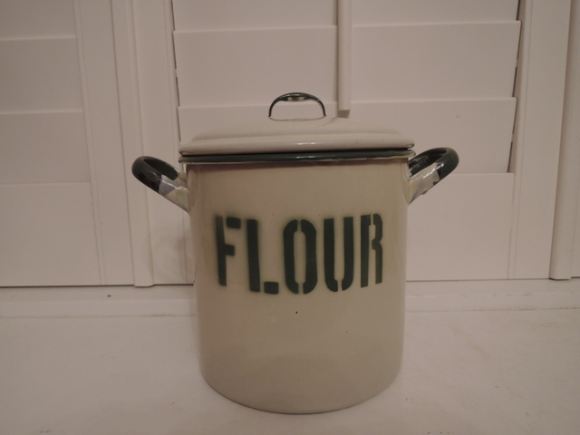 Vintage English Cream & Green Enamel Enamelware Flour Bin/Box Canister