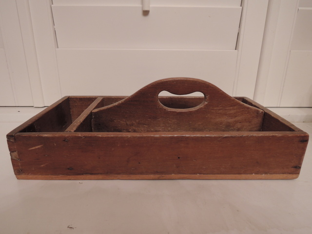 Vintage English Wooden Utensil/Cutlery Holder Handled Tray Pine Wood