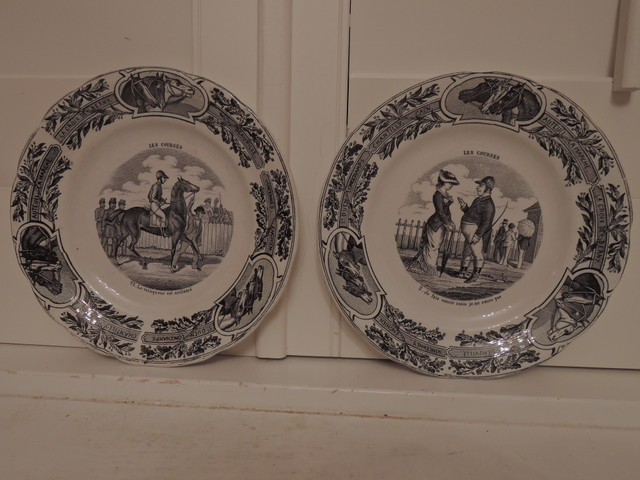 Antique French Choisy Le Roi Pair of Plates Horse Racing Black Transferware