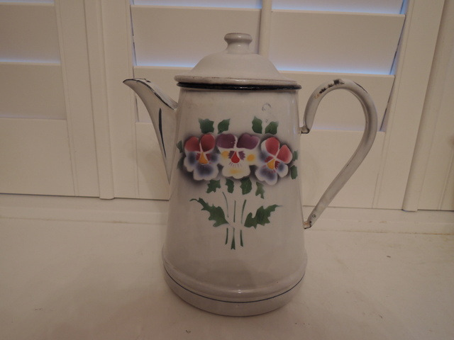 Vintage German Enamelware Enamel Coffee Pot/Teapot Hand Painted Pansies 1940's