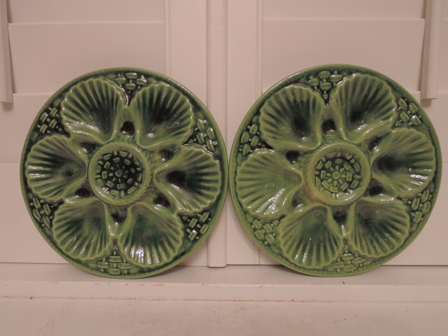 Vintage French Majolica Pair of Green Oyster Plates Fait Main