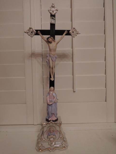 Large Vintage German Altar Cross Jesus Crucifix Bisque Mary Angel Ceramic Base Wooden