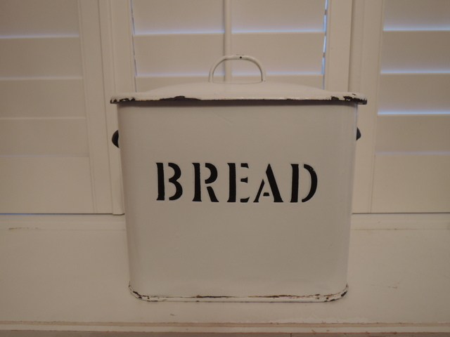 Vintage Classic English White Enamel Bread Box Enamelware 1930's