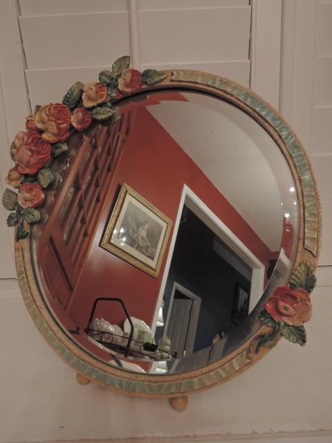 Stunning English Barbola Bevelled Dressing Mirror Pink Roses Ribbon Border