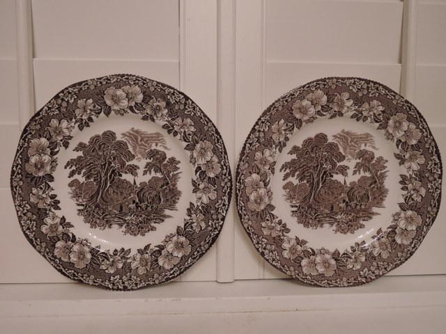 """Vintage Pair of Brown Transferware Woodland Enoch Wedgwood 10"""" Dinner Plates"""