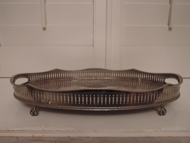 Vintage Sheffield Silverplate Footed Reticulated Handled Gallery Tray Silver Plate