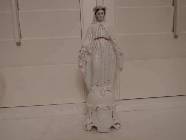 Antique French Porcelain Madonna Virgin Mary Figurine Religious Statue