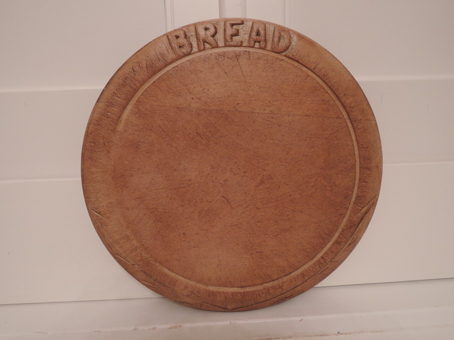 Vintage English Wooden Bread Board w/Wheat Stalks Great Patina Cutting Wood