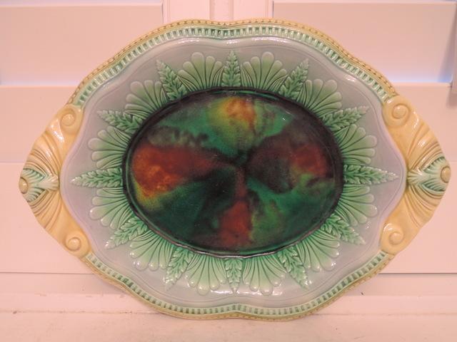 Antique Victorian English Majolica Bread Platter Dish Beautiful 1880's