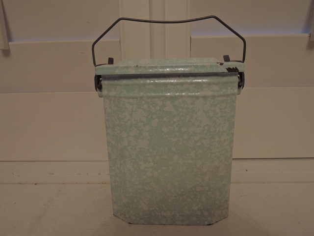 Antique Vintage French Enamelware Lunch Box Pail Green & White Enamel