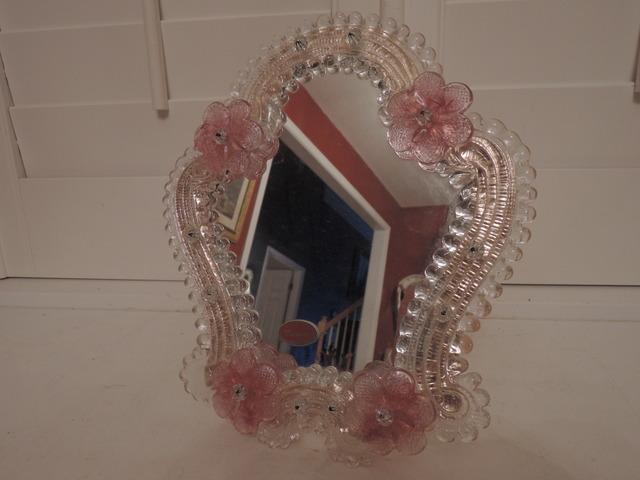 Vintage Italian Venetian Murano Glass Ladies Dressing Mirror Pink Flowers