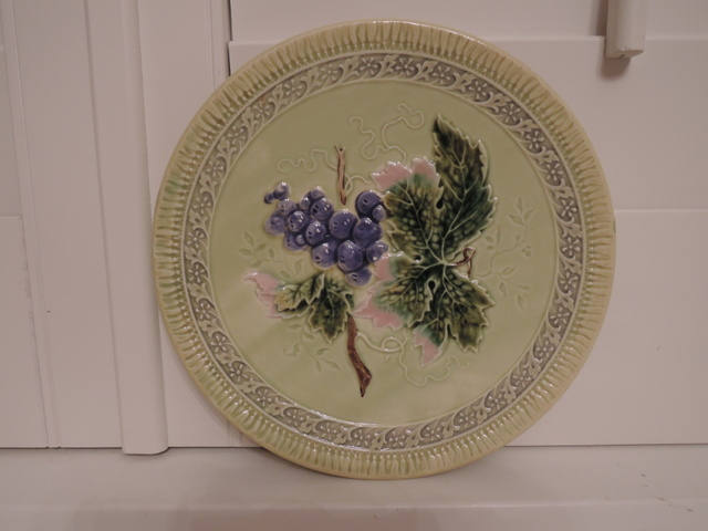 "Vintage German Zell Majolica 8"" Yellow Plate w/Grapes"