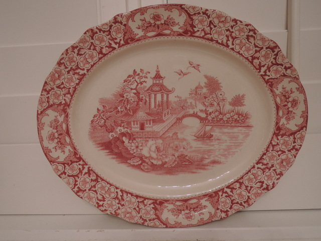"Vintage Olde Alton Ware Red Transferware 14"" Platter"