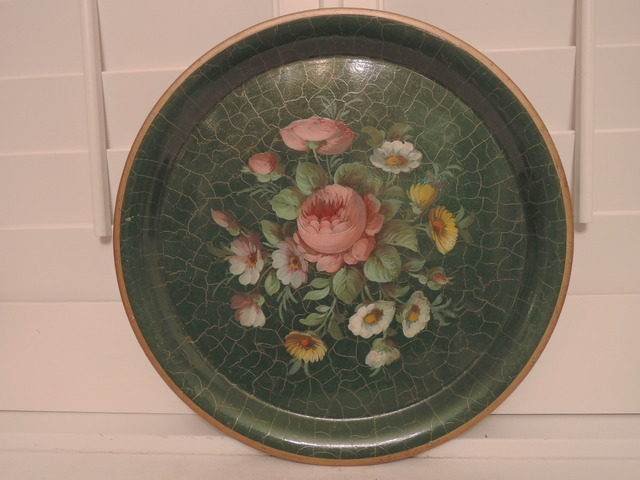 Vintage French Green Hand Painted Large Floral Tole Tray Toleware Pink Roses