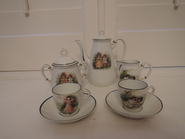 Antique German Porcelain Childs Tea Set Teapot Darling!