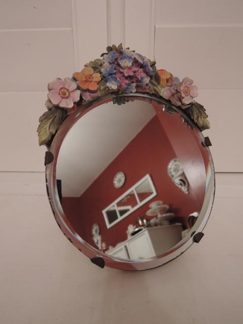 Gorgeous Antique Original English Beveled Barbola Mirror Gesso Forget Me Nots 1920's