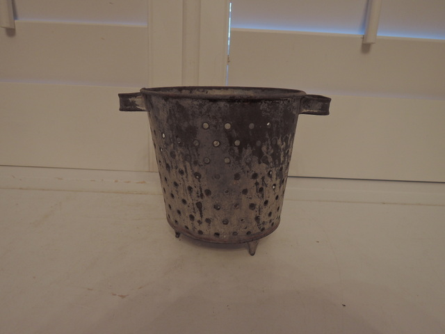Vintage French Small Metal Olive Gathering Bucket Basket Garden