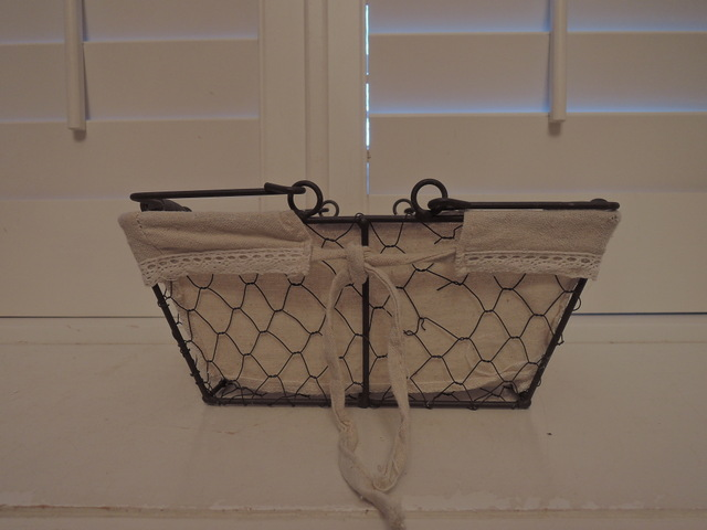 Vintage French Wired Lined Handle Basket Gathering Garden