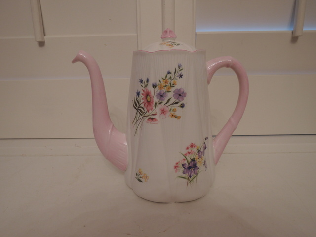 Vintage Shelley Wild Flowers Coffee Pot/Teapot Dainty Shape Pink Fine Bone China