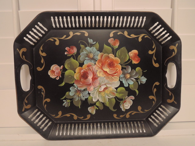 Beautiful Vintage Black Hand Painted Tole Tray Toleware Pink Roses