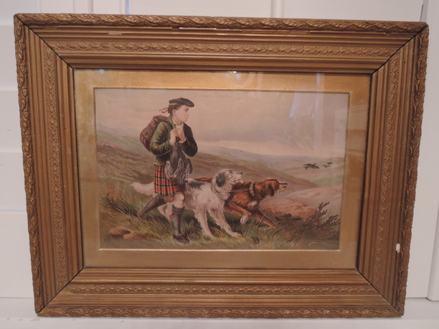 James Hardy Chromolithograph Hunting Print I 19th C. Framed Dogs Retriever