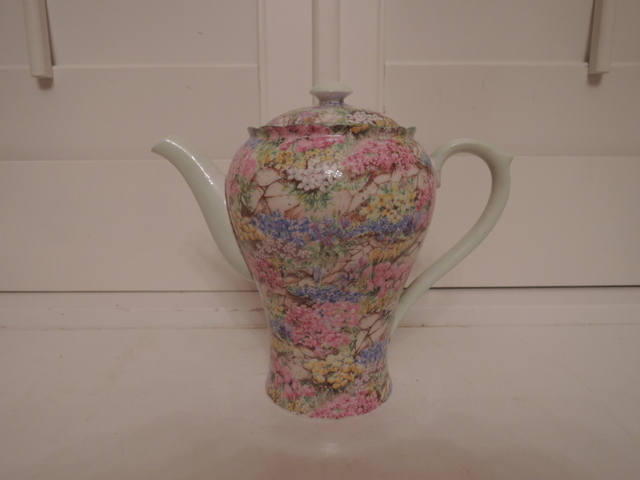 Vintage Shelley Chintz Rock Garden Bone China Teapot Mint Green Coffee Pot