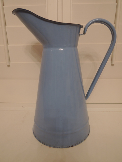 Vintage French Enamelware Robin's Egg Blue Large Pitcher Jug Enamel 1930's