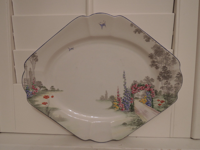"""Vintage Shelley Archway Of Roses 12.5"""" Platter Blue Rim Rare! Gorgeous"""