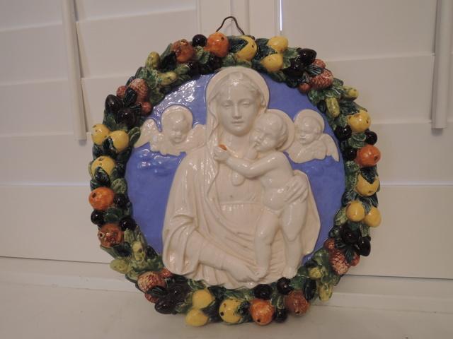 Large Vintage Italian Pottery Della Robbia Madonna & Child Wall Plaque Religious