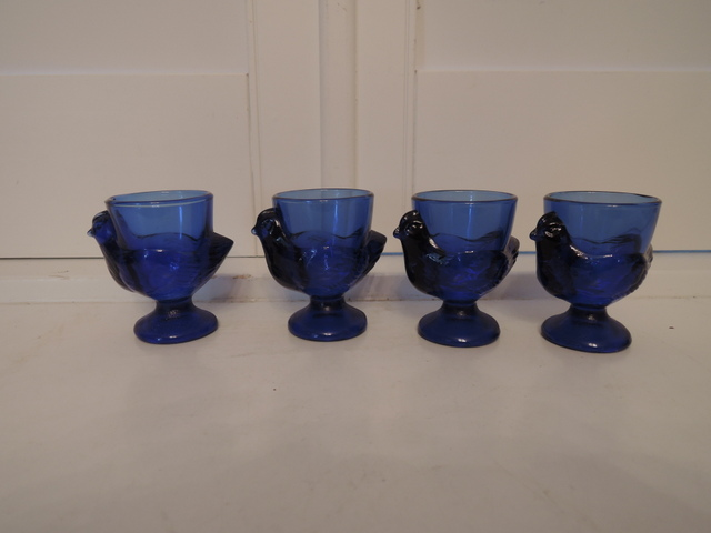 Vintage French Set of 4 Cobalt Blue Glass Chicken Eggcups Egg Cups Easter
