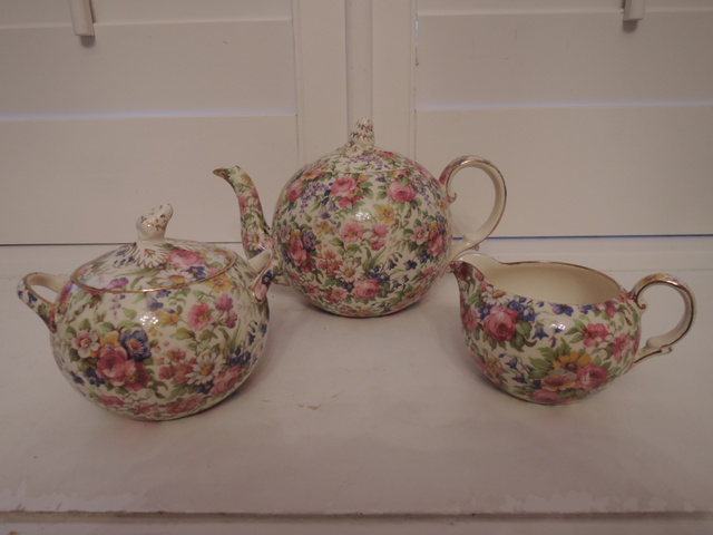 Vintage Royal Winton Chintz Summertime Elite Teapot Tea Set 1930's