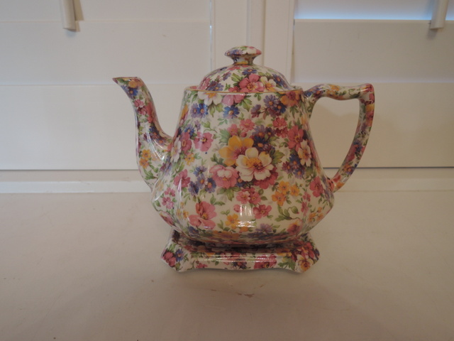 Vintage James Kent Chintz Du Barry Teapot & Trivet Stand Old Mark