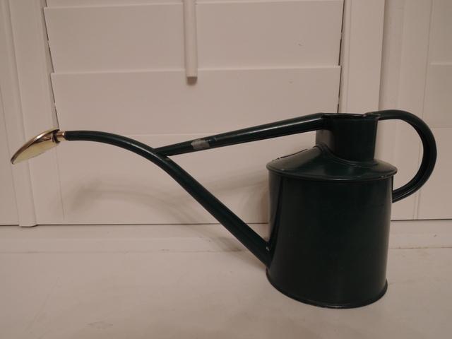 Vintage Haws Green Metal 2 Pint Watering Can Brass Sprinkler