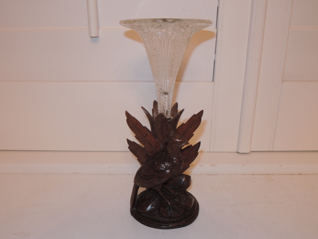 Antique Black Forest Carved Wood Pheasant w/Cut Glass Epergne Vase c.1900