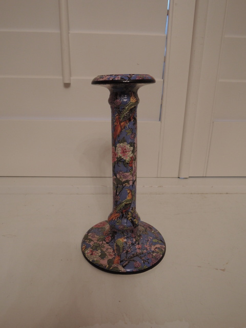 Rare Large Crown Ducal Blue Chintz Candlestick Candle Holder Exotic Birds
