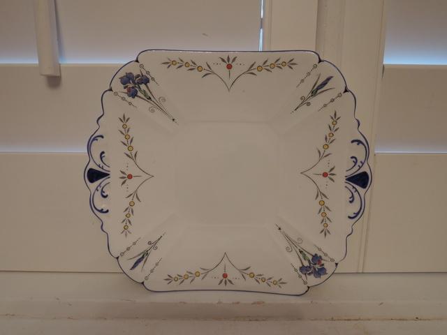Vintage Shelley Blue Iris Handled Cake Plate Beautiful